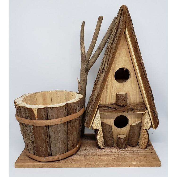 Casinha de passarinho com vaso - Imagem: 1