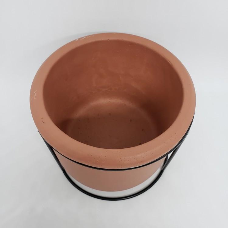 Cachepot cimento com suporte - Imagem: 2