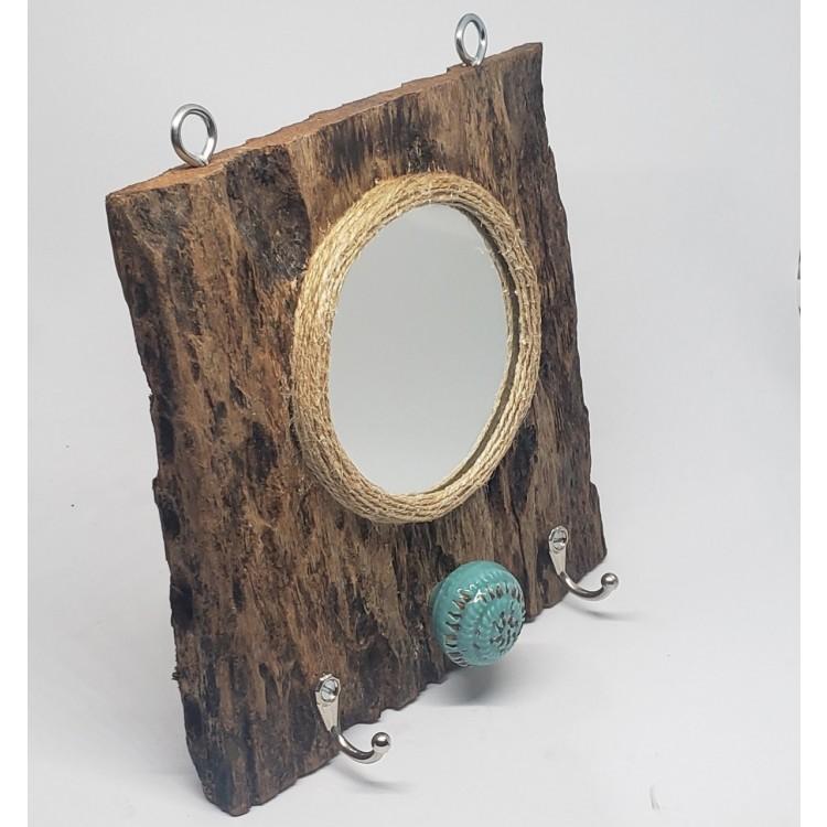 Espelho e gancheira rústico - Imagem: 1