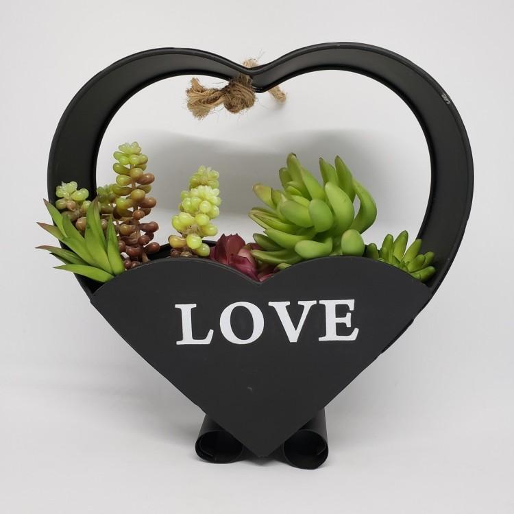 Suporte flores coração preto - Imagem: 1