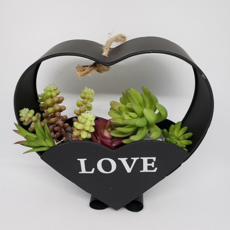 Suporte flores coração preto - Imagem: 2