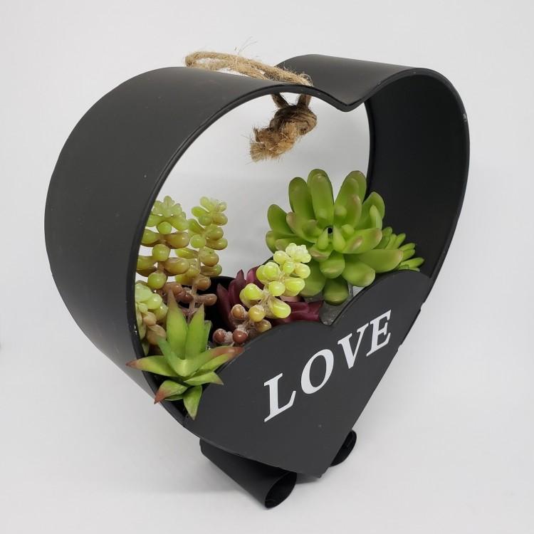 Suporte flores coração preto - Imagem: 3