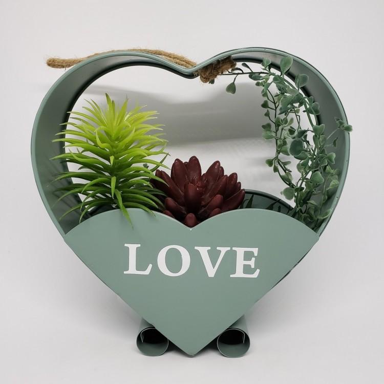 Suporte flores coração verde - Imagem: 1