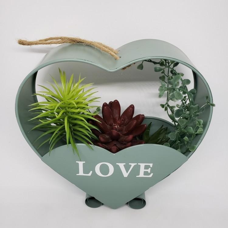 Suporte flores coração verde - Imagem: 2