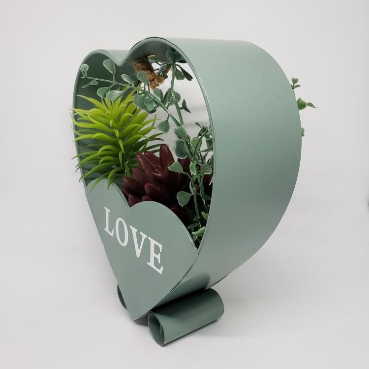 Suporte flores coração verde - Imagem: 3