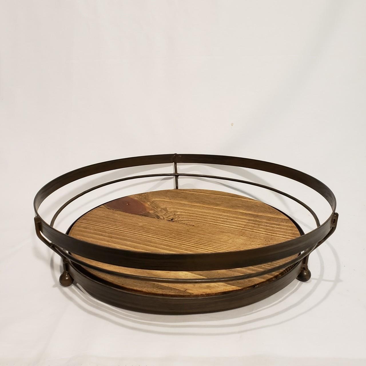 Centro de mesa madeira e metal