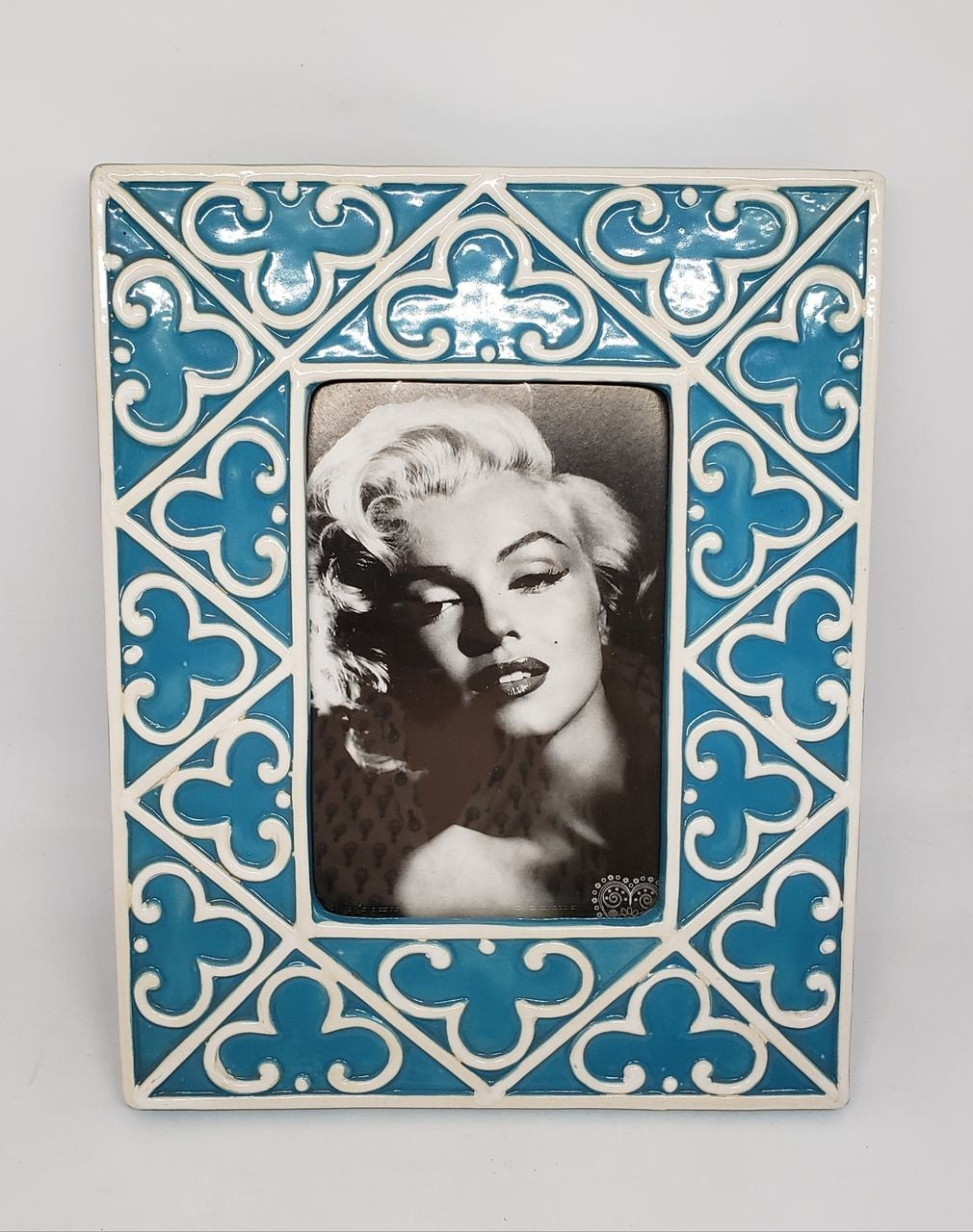 Porta-retrato cerâmica azul