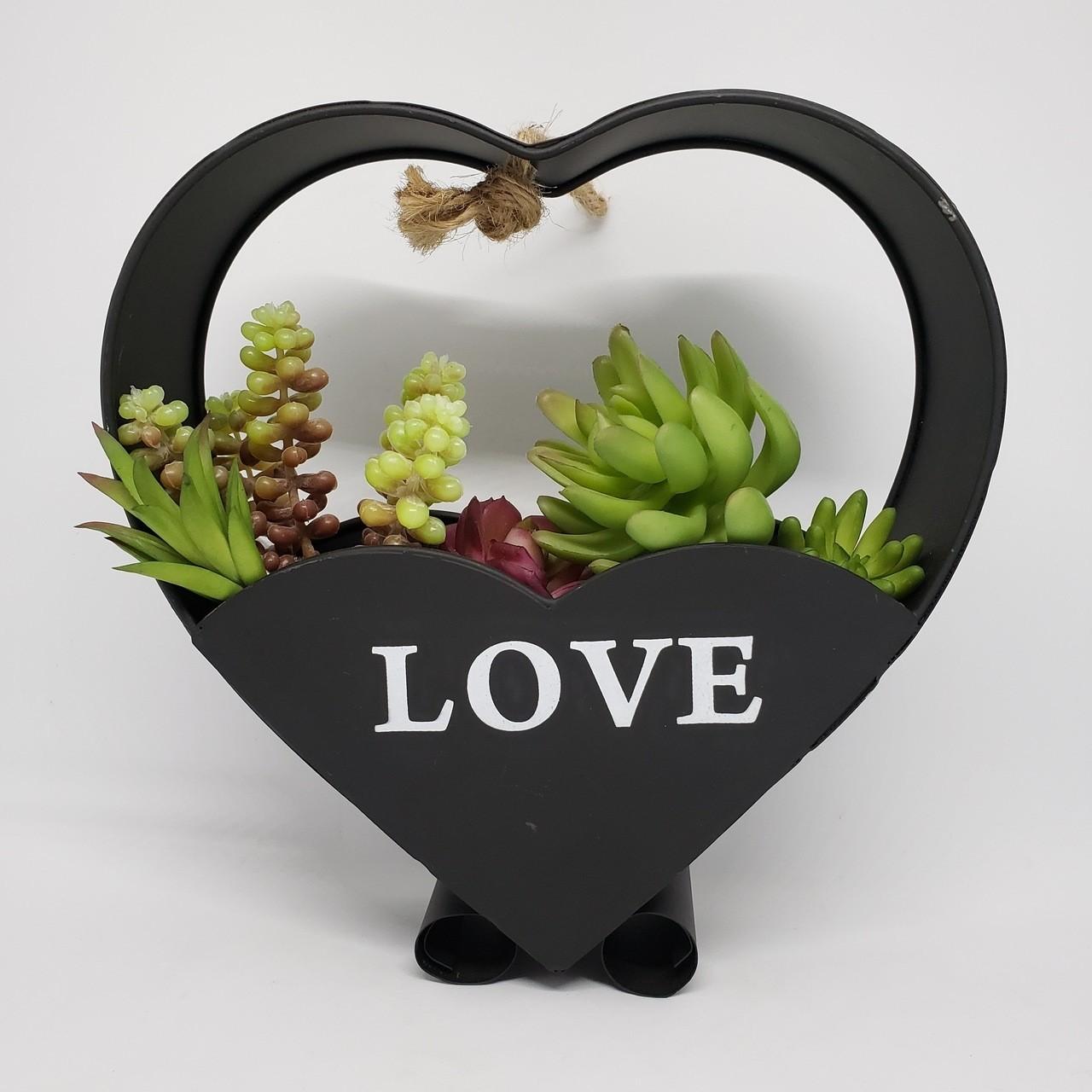 Suporte flores coração preto